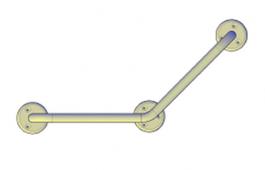 Поручни для инвалидов угловой (135°) 300х300 мм (3-х опорный)