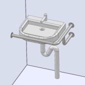 Поручни для инвалидов для раковины угловой настенного крепления (левый/правый)